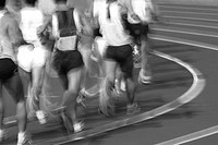 Competitive runners on track