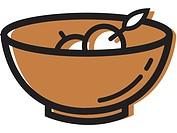 Illustration of a bowl of fruit