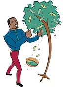A businessman getting cash and coins from a tree