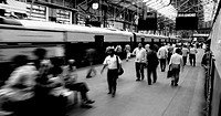 Group of people at a railway station, Churchgate Station, Mumbai, Maharashtra, India