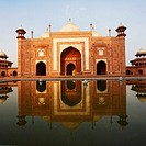 Reflection of a mausoleum in water, Taj Mahal, Agra, Uttar Pradesh, India (thumbnail)