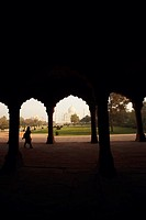 Mausoleum viewed through an archway, Taj Mahal, Agra, Uttar Pradesh, India