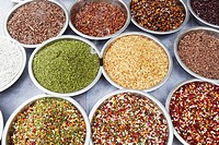 High angle view of assorted spices at a spice stall