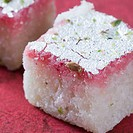 Close-up of Burfi garnished with Pistachio