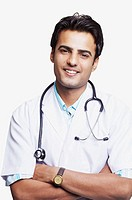 Portrait of a male doctor smiling with a stethoscope around his neck