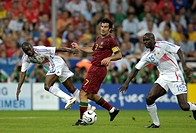 Sport, football, world championships, semifinal, Portugal versus France, 0:1, Munich, 5 7 2006, Claude Makelele, Luis Figo, Lilian Thuram, sports, wor...