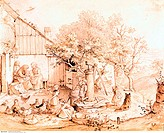 SF Kunst, Richter, Adrian Ludwig 1803 - 1884, Illustration, Familienszene am Brunnen, Privatsammlung, Schweinfurt zeichnung, familie, 19 jh, land, län...