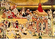 fine arts, Japan, Gion Matsuri in Kyoto, detail, early Edo period 1630 _ 1640, coloured woodcut, Museum für Ostasiatische Kunst, Cologne, Germany, fes...