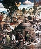 Kunst, Hesse, Hans, Bergknappschaftsaltar in der St. Annenkirche in Annaberg, Detail, Mitteltafel, Darstellung des bergmännischen Lebens, entstanden u...