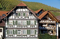 Half-timbered house and vineyard, Durbach. Baden-Württemberg, Germany