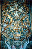 SG hist, Heraldik, Embleme, Emblem des Ritterorden der Johanniter Malteser, Ornament, Wandschmuck, Saint Johns Cathedral, La Valetta, Malta, erbaut 15...