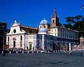 Geo , Italien, Rom, Kirchen, Kirche Santa Maria del Popolo, erbaut 1472 - 1479, durch Baccio Pontelli, im Auftrag von Papst Gregor IX , Fassade durch ...