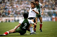Sport / Sports, soccer, football, World Cup 1982, final round, Algeria against Germany 2:1 in Gijon, Spain, 16 6 1982, scene with Pierre Littbarski, m...