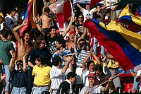 Sport / Sports, soccer, football, World Cup 1990, final round, last sixteen, Cameroon against Colombia, Naples, Italy, 23 6 1990, Colombian fans, fan,...