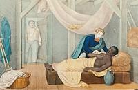 Literatur hist - ´Onkel Tom´s Hütte´, Roman von Harriet Beecher Stowe, 1852, ´Onkel Tom´s Ende´, colorierte Lithographie, Verlag E G May, Frankfurt / ...
