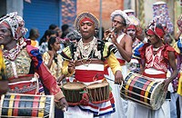 Group of musicians taking part in parade, Sri Lanka
