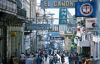 People walking in street, Calle Enramada, Santiago de Cuba, Santiago de Cuba Province, Cuba