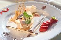 High angle view of a gourmet dessert