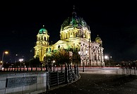 Church lit up at night, Berlin Cathedral, Museum Island, Berlin, Germany