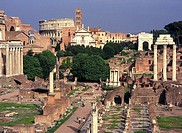 High angle view of ruins, Rome, Italy