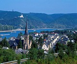 Aerial view of town, Marksburg Castle, River Rhine, Rhineland_Palatinate, Germany