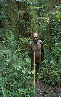 A Papua man in the mountain forest of the Soba district, Irian Jaya West Papua, Indonesia
