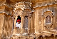 Merchant´s mansion. Detail of a Haveli in Jaisalmer. Rajasthan. India