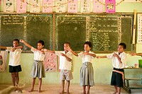 1st Grade children, Qelini Village School, near Matei, Taveuni, Fiji, South Pacific