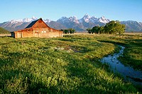 The Moulton Barn stands tall before the Tetons after over 100 hard winters, Grand Teton National Park, Wyoming, USA