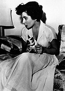 Taylor, Elizabeth Liz, * 27 2 1932, American actress, half length, with her cat ´Beauty´, during shooting of ´The Big Hangover´, 1950, 1950s, 50s, dir...