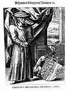 Johann II , 1397 - 19 1 1479, König von Aragon 27 6 1458 - 19 1 1479, Ganzfigur, Historienbild, deutscher Kupferstich, ca 17 Jh , Trastamara, König vo...