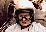 McLaren, Bruce, 30 8 1937 - 2 6 1970, New Zealand athlete, automobile racer, portrait, circa 1960, driver, formula one, helmet, sport, glasses, 1,