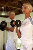 Fitness centre, senior couple, dumbbell training, detail, series, person, 50-60 years, 60-70 years,
