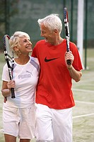 Tennis court, senior couple, tennis racquet, arm in arm, laugh, rest detail,