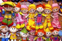 Dolls and puppets in a shop of the souk of Dubai city. Emirate of Dubai. United Arab Emirates on the Persian Gulf
