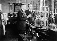 Irving Langmuir and Guglielmo Marconi in the General Electric Research Laboratory, New York, 1922  Marconi 1874-1937, right was an Italian inventor be...