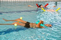 Swimming activities in a swimming pool at a hospital that specialises in obesity  The HPR Bullion hospital specialises in obesity treatment for childr...