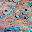 Martian rock experiments, false-colour Spirit rover image  Abrasion marks blue are seen at upper left and upper right, where the Mars Exploration Rove...