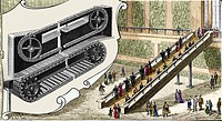 Early escalator  Historical artwork of the design of a proposed 19th-century escalator  This early design used a non-stepped walkway, like that of a t...