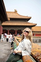 Woman in the Forbidden city. Beijing. China.