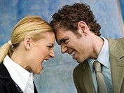 Businessman and businesswoman quarrelling, side view, close up (thumbnail)
