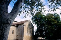 Side fa&#231;ade of the Cistercian abbey of Flaran, near Valence-sur-Ba&#239;se. Gers. France