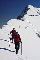 Germany, Bavaria, Ammergauer Alps, Daniel, summits, ridge, mountain climbers, movement, winters, series, waiter-Bavaria, Alps, mountains, pair, ski-to...