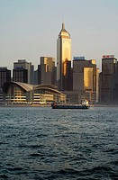 Skyline, freighter, fairgrounds, Convention reverberation, Kongresscenter, center, sunset, evening-sun, Hong Kong, China, Asia, 03/2006