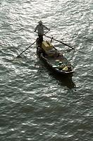Vietnam, Mekongdelta, Cai position, river-market, man, boat, Asia, southeast-Asia, river Mekong, market, trade, retails, economy, dealers, hat, stands...