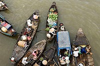 Vietnam, Mekongdelta, Cai position, river-market, boats, from above, Asia, southeast-Asia, river Mekong, city, swimming market, trade, retails, econom...