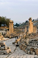 Jordan, Gerasa, forum, ruins, Near east, city, old part of town, sight, culture, ruin-field, remains, buildings, columns, Ionic, architecture, histori...