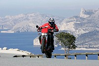 Motorcyclists, coast-street, speed, Wheelie, no property release, sport, hobby, vacation, trips, Lifestyle, Motorradfahren, South-France, mountain-str...
