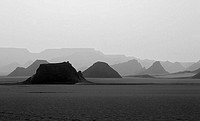 Egypt, Gilf Kebir plateau, rock-formations, silhouette, s/w, borderland, regional-border, Libya, Sudan, landscape, mountains, rocks, forms, nature, na...
