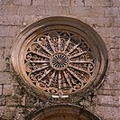 Italy, Apulien, Locorotondo, Chiesa Santa Maria la Greca facade detail window-rose church, parish-church, Madonna della Greca, wheel-windows, rosette-...